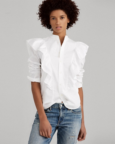 Ruffled Broadcloth Button-Down