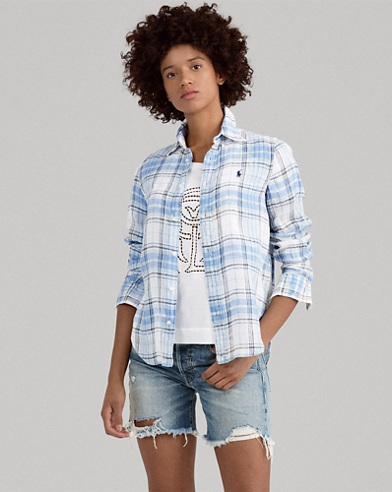 Boy Fit Linen Plaid Shirt