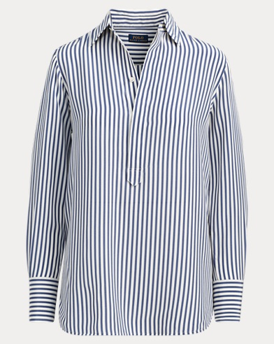 Striped Silk Popover Shirt