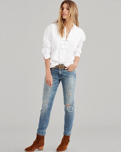 Lace-Up Broadcloth Shirt