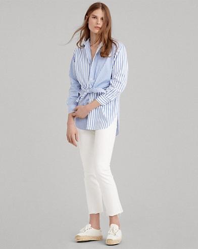 Camicia a righe con lacci in cotone