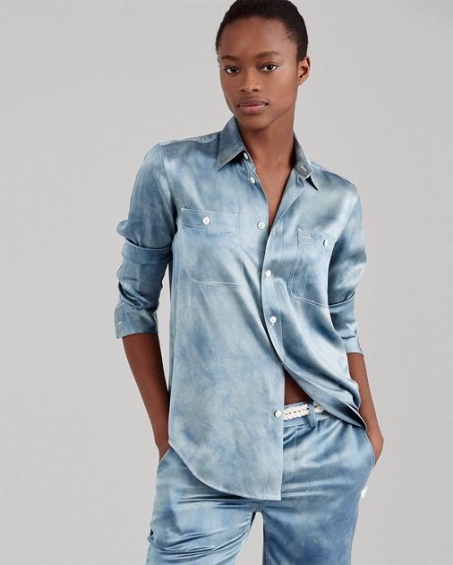 2aecb96b3a Polo Ralph Lauren Tie-Dye Silk Satin Shirt 1