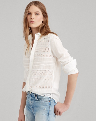 Eyelet Cotton Poplin Shirt