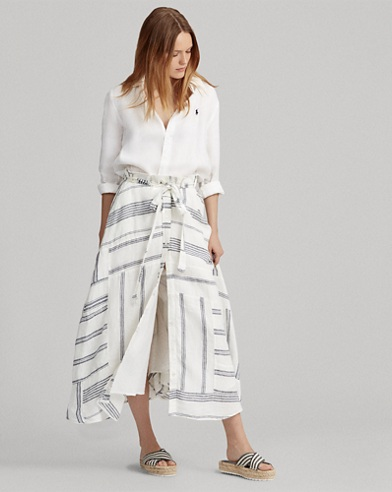 Patchwork Linen Skirt