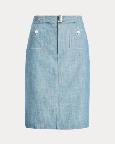 Buckled Chambray Skirt