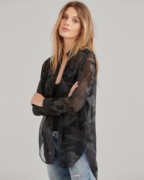 b967c98379e4e Polo Ralph Lauren Camo Silk Georgette Shirt 1