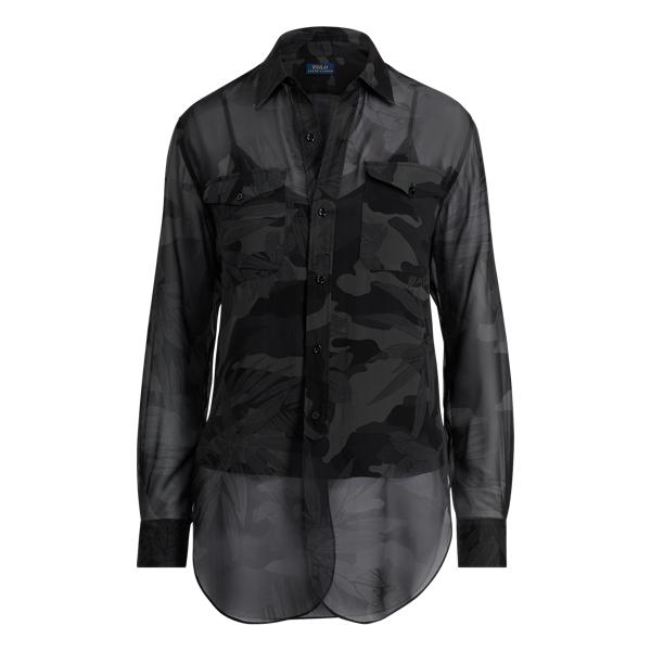 Ralph Lauren Camo Silk Georgette Shirt Jungle Camo M
