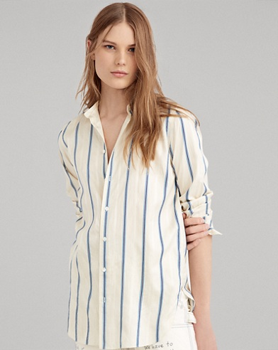Camicia button-down in seta a righe