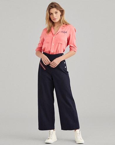 Pantaloni in misto lino gamba larga