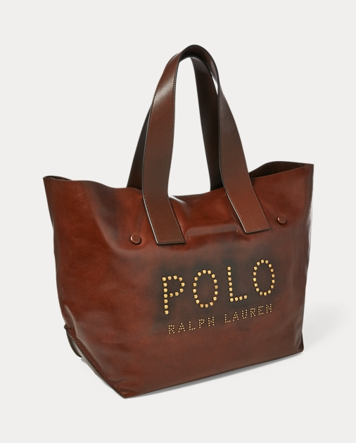 c0d11f5f795c Polo Ralph Lauren Studded Leather Polo Tote Bag 2