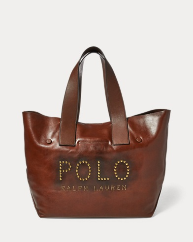 Studded Leather Polo Tote Bag