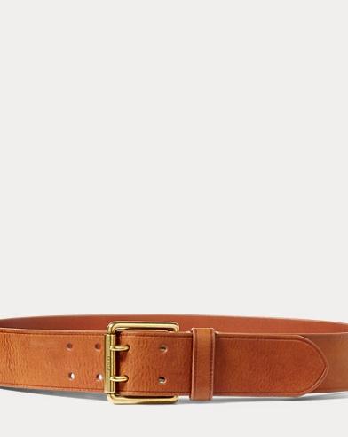 Cinturón de piel con hebilla de dos agujas