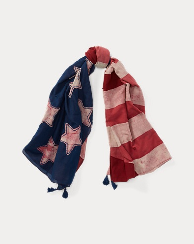 Patchwork Flag Cotton Scarf
