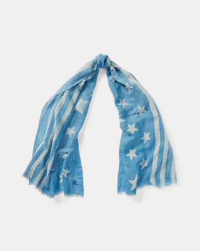 Indigo Flag Linen-Cotton Scarf