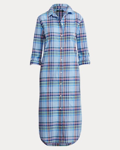 Plaid Cotton-Blend Sleep Shirt