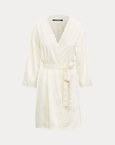 Lace-Trim Satin Robe