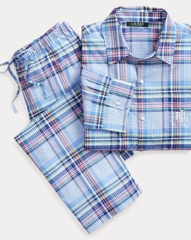 Karierter Pyjama mit Baumwolle