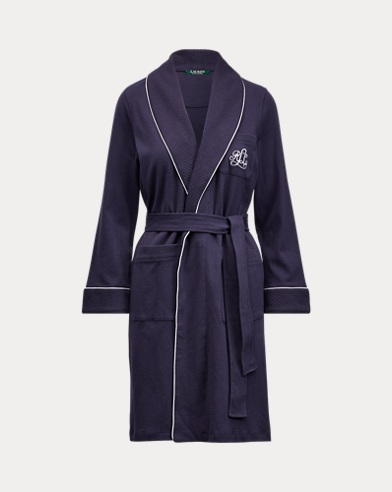 Quilted-Collar Cotton Robe