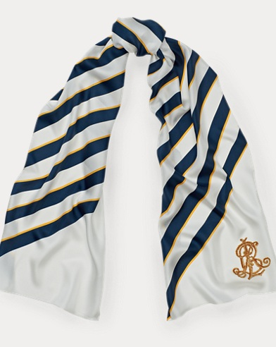 Diagonal-Stripe Silk Scarf