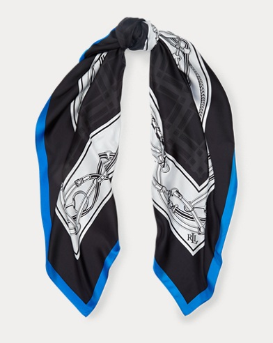 Bridle-Print Silk Poncho