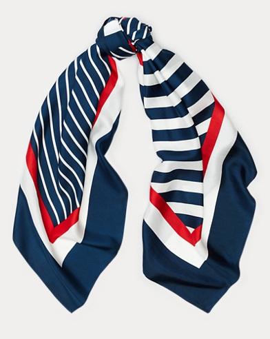 Contrast-Stripe Silk Scarf