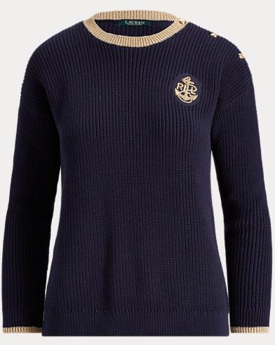 Bullion-Patch Cotton Sweater