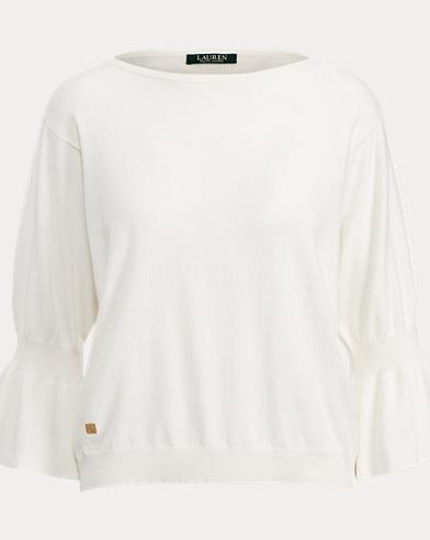 Ruffled-Cuff Cotton Sweater