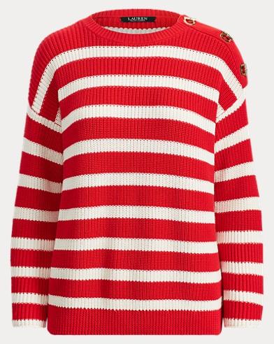 Striped Toggle Cotton Sweater
