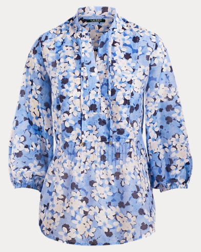 Blusa in voile con cuciture pintuck