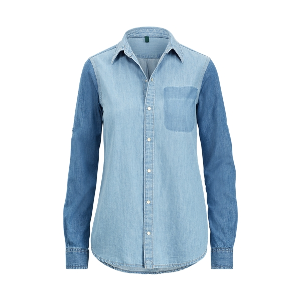 Ralph Lauren Color-Blocked Denim Shirt Shadow Block Wash Xl