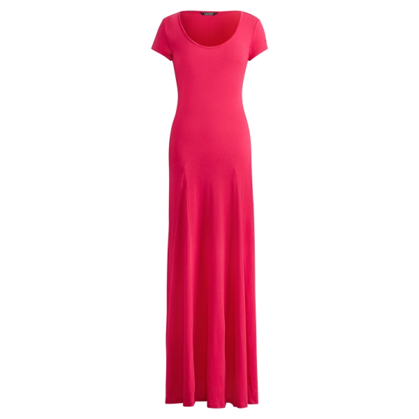 Ralph Lauren Jersey Scoopneck Maxidress Pink Poppy S