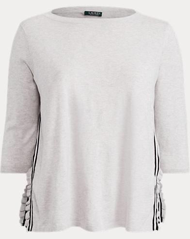 Ruffle-Trim Striped Sweater