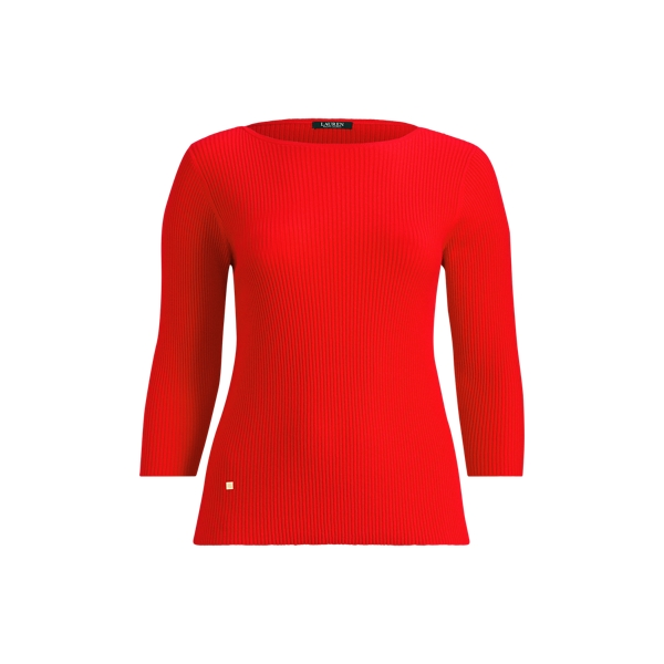 Ralph Lauren Cotton-Blend Boatneck Sweater Tomato Red 2X