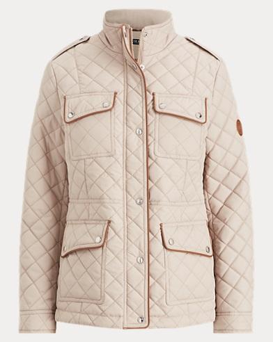 Faux-Leather-Trim Jacket