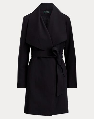 Portrait-Collar Crepe Coat