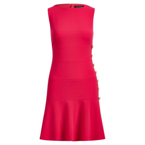 Ralph Lauren Button-Trim Crepe Dress Pnk Poppy 6