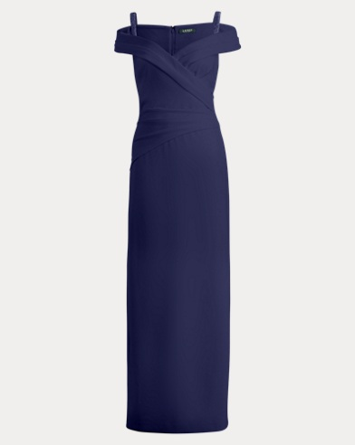 Sequined-Strap Crepe Gown