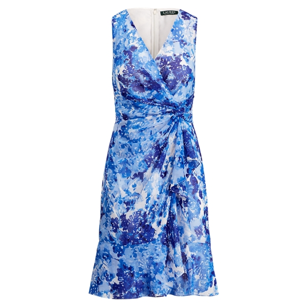 Ralph Lauren Printed Georgette V-Neck Dress Blue/Multi 14