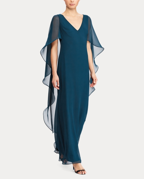 638ea662d1 Ruffled Georgette Cape Gown