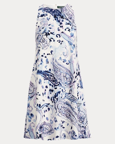 Paisley Crepe A-Line Dress