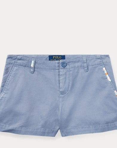 Embroidered Cotton Chino Short