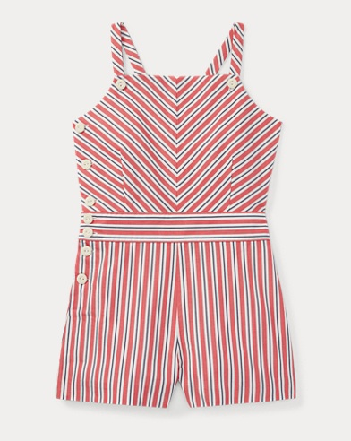 Striped Bow-Back Cotton Romper