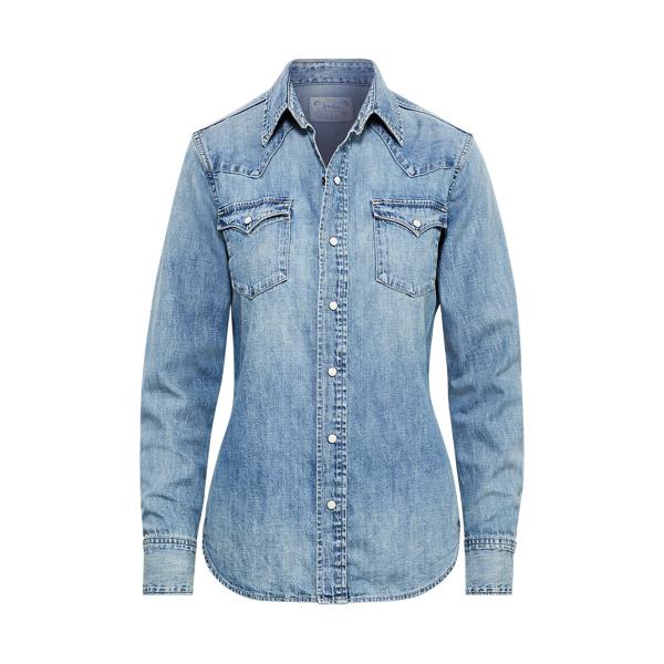 Ralph Lauren Denim Western Shirt Medium Indigo Xs