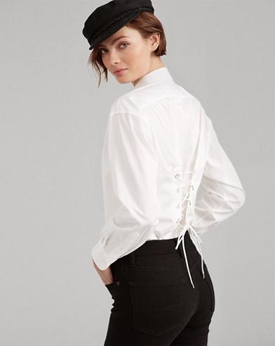 Lace-Up Cotton Boyfriend Shirt