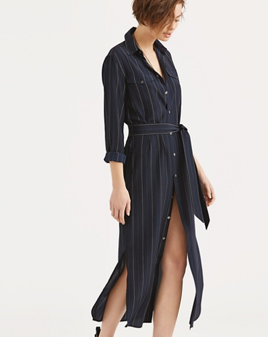 Pinstripe Silk Shirtdress
