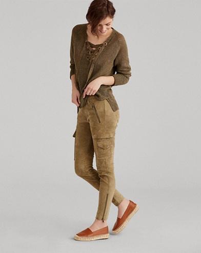 Pantaloni cargo skinny in camoscio