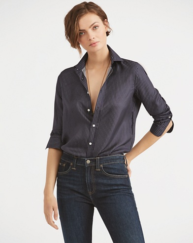 Pinstripe Silk Button-Down