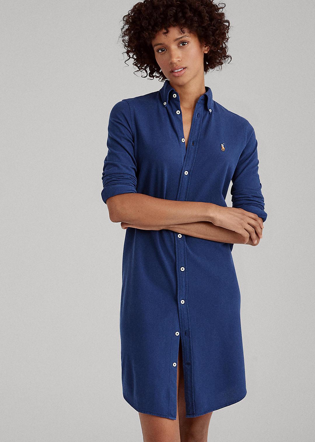 Knit Oxford Shirtdress