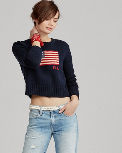 Flag Cropped Cotton Sweater