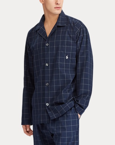 Windowpane Cotton Pajama Shirt